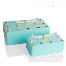 绿色金点长方形木质烤漆合金首饰盒欧式创意客厅卧室酒店实木摆件