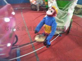 小洋人机器人蹬车猴拉车新款广场游乐设备玩具车