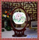 景德鎮陶瓷燈具貼花圓球款 臥室牀頭現代中式仿古典檯燈