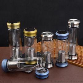 高硼硅双层玻璃水杯保温瓶 商务泡茶杯车载杯