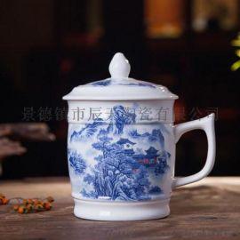 厂家批发定制酒店宾馆会议杯陶瓷纯白色茶杯带盖杯喝水