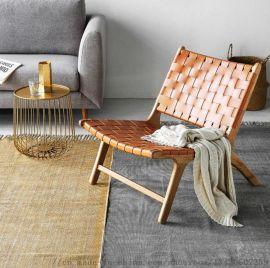 北欧实木编织沙发酒店休闲沙发椅定制