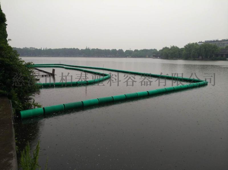 河道上攔污浮體水草隔離
