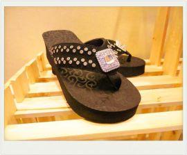 美国西部牛仔EVA拖鞋牛反绒皮面配透明水钻金属方形扣 ** 女鞋