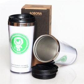 新款星巴克汽车杯不锈钢咖啡杯 塑钢插纸广告杯 品质非常好