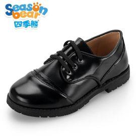 四季熊儿童童鞋  黑色皮鞋2016夏季款韩版真皮学生鞋小童单鞋潮