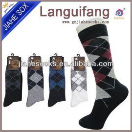 2016年热卖款菱形男士商务袜 独立包装男袜