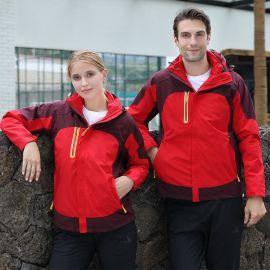 戶外男女款工作服可拆卸加絨加厚情侶兩件套沖鋒衣