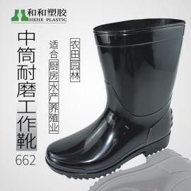 厂家批发工作雨靴防水鞋黑色PVC防滑耐磨底中筒套鞋胶鞋男女水靴