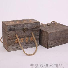 厂家定制批发供应 两瓶装木质酒盒 白酒礼盒包装盒 复古白酒木箱