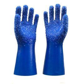 山东顺兴PVC劳保手套 蓝色浸胶白色颗粒防滑耐磨防油耐酸碱