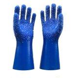山東順興PVC勞保手套 藍色浸膠白色顆粒防滑耐磨防油耐酸鹼