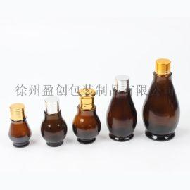 棕色单葫芦精油瓶,茶色葫芦精油瓶