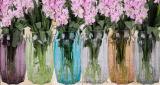 彩色玻璃插花瓶,麻绳吊瓶,玻璃花瓶厂家