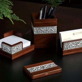 泰国锡器 祥龙办公四件套 商务送礼 笔筒 名片夹 名片盒 套装