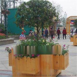 唐山木质花盆河北户外公园防腐木花箱