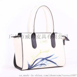 手提包欧美风范花卉绣花女包女式OL通勤风手提包