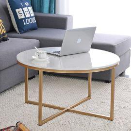 厂家直销北欧金色大理石小圆桌 简约客厅家具边几 沙发铁艺矮茶几