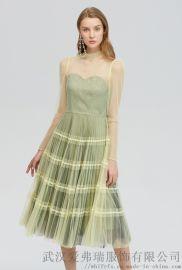 真丝服装走份厂家拿货芭蒂娜V领印花连衣裙厂家