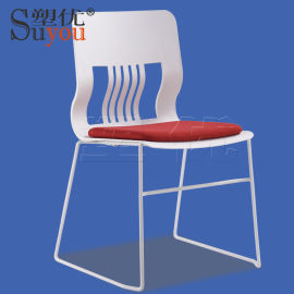 时尚会客座椅布面洽谈椅一体座背会议椅子上下叠加