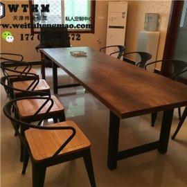 天津老榆木餐桌 天津全实木饭桌 天津榆木茶桌