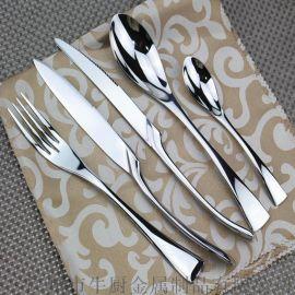 不鏽鋼西餐食具陶瓷牛排盤子碟套裝 西餐刀叉兩件套 牛排刀叉勺