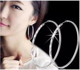 纯银批发S990纯银耳环韩版时尚大耳圈明星款女耳圈银饰品5cm