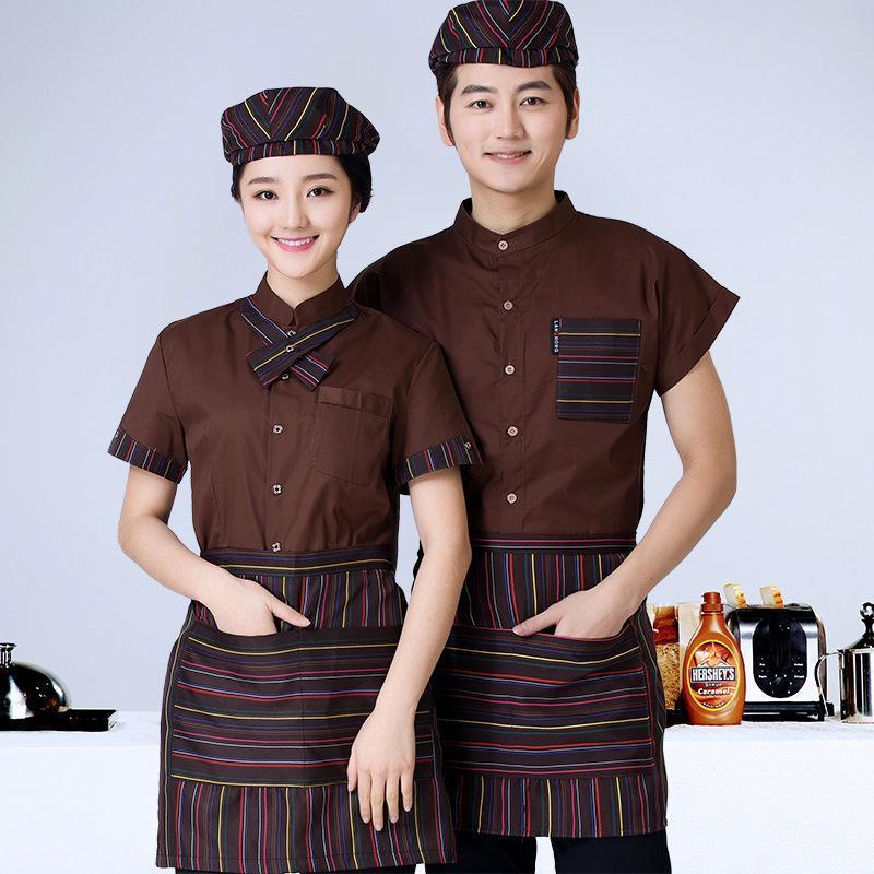 定做酒店餐饮服务员夏装蛋糕面包店烘焙西餐厅男女短袖工作服定制