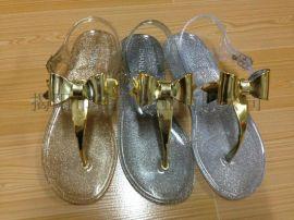 揭阳厂家供应女款闪粉电镀水晶凉鞋