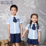 幼儿园园服定做夏季格子短袖学生礼服套装