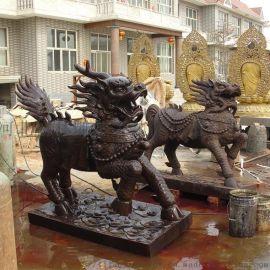 动物雕塑铜麒麟 故宫银行装饰摆件