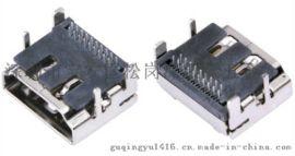 視頻高清19Pin插座 HDMI A型母座 90度插板 兩排針 DIP