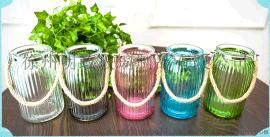 麻绳提手玻璃花瓶厂家,插花瓶,彩色玻璃插花瓶