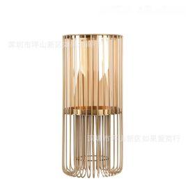 美式几何轻奢金色古铜色铁玻璃烛台装饰欧式北欧浪漫复古摆件日式