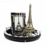 現代中式圓形白黑色水晶鑽石托盤樣板間銀色邊框金屬裝飾家用創意
