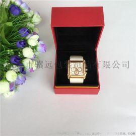 充皮纸手表包装盒红色翻盖表盒高档名表盒定制