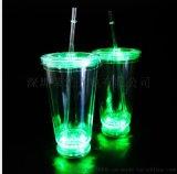 厂家定制双层发光吸管杯 LED创意闪光吸管杯