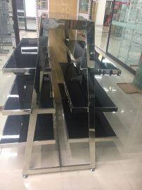 上海服裝展示架定做加工、鈦金展示架、玫瑰金展示架、鈦金展示架、服裝專賣店展示架、佛山展示架加工廠