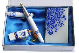 陶瓷泼墨u盘+笔+移动电源套装 商务会议礼品