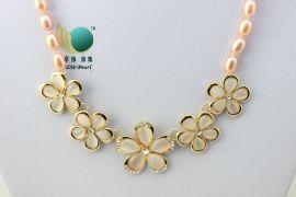 卓伟珍珠 韩国代购 韩版短款时尚花朵猫眼石水晶珍珠项链131102