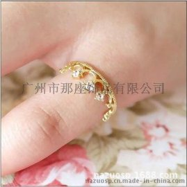 925银电镀18K 皇冠戒指 简约时尚款