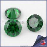 人造宝石 圆形绿色锆石 八心八箭锆石裸石