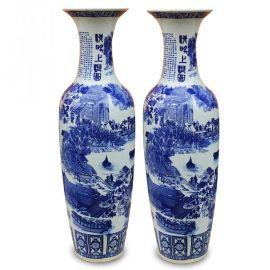 2米青花大花瓶,手绘锦绣山河大花瓶