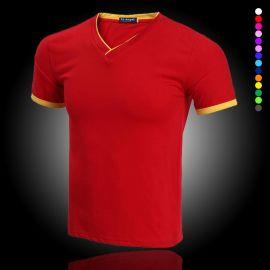定制萊卡雙V領短半袖純棉T恤班服新款diy訂做男女工作服印字LOGO