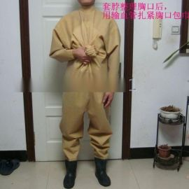 黄布纹全身连体带水鞋全干式乳胶下水裤 橡胶下水衣潜水服潜水衣