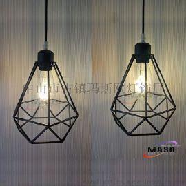 美式LOFT复古工业风铁艺钻石吊灯现代北欧创意艺术**吧书房餐厅MS-P6005