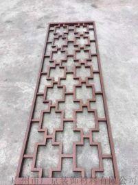 复古风格仿古木纹铝窗花|广州专业焊接铝合金方管窗花格生产厂家