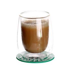 双层隔热玻璃杯加厚耐热咖啡杯透明茶杯家用个性果汁杯子水杯