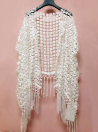 镂空珍珠花朵流苏大披肩宽松加大防晒罩衫斗篷