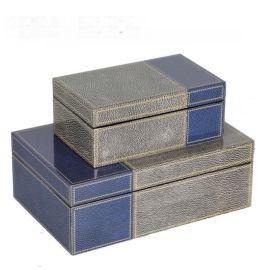 魔鬼鱼皮钢琴烤漆亚克力首饰盒简约收纳盒软装饰品样板间饰品摆件
